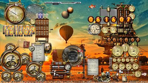clock themes for windows 10 balloon sunset windows 10 steunk desktop by
