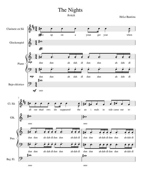 The Nights-Avicii Sheet music for Clarinet, Piano