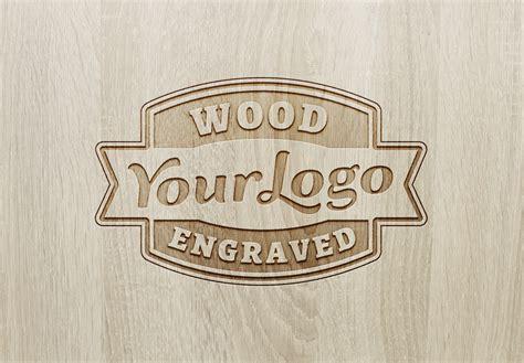 wood engraved logo mockup 2 graphicburger