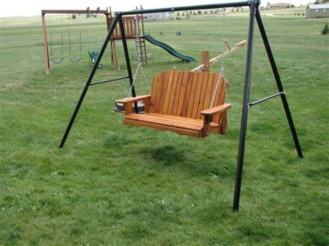 patio swing set repurposed swing set frame to porch swing garden quot art