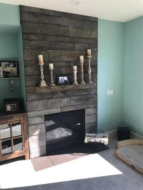 reclaimed wood and stone fireplace wall barnwood stone fireplace