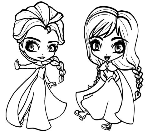 coloring pages frozen characters deviantart more like chibi and elsa from frozen
