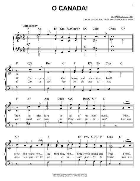 o canada lyrics printable version o canada sheet music by calixa lavallee easy piano 27200