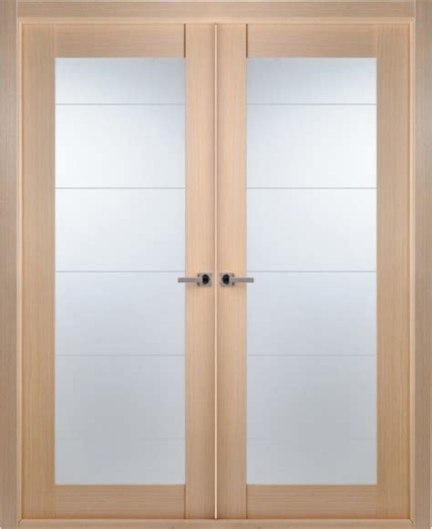 Contemporary Bleached Oak Interior Double Door Lined Interior Doors With Frosted Glass