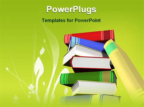 educational powerpoint template powerpoint template stack of books with green background