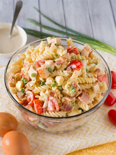 pasta salad with bacon chicken caesar pasta salad with bacon and egg the weary chef
