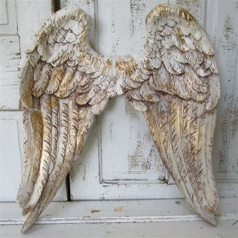 angel wings wall decor white gold  brown distressing