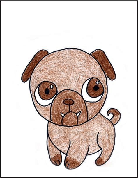 sketch of a pug how to draw a pug projects for