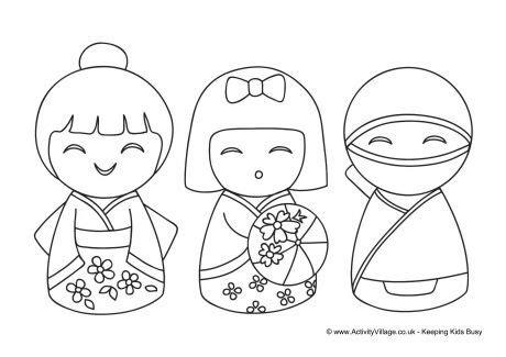 coloring pages kokeshi dolls kokeshi dolls colouring page 2