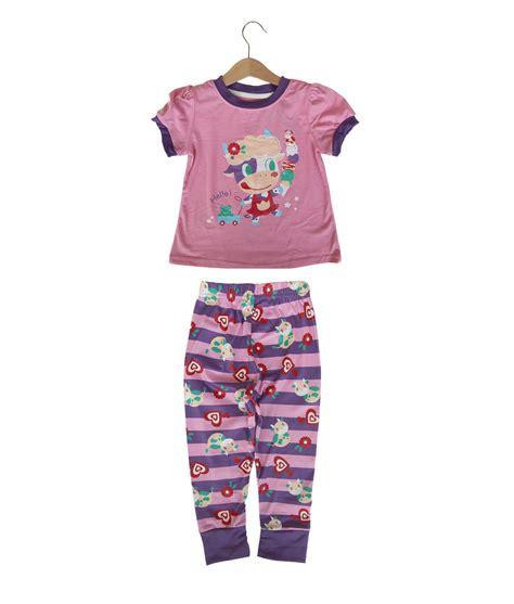 Set Atasan Dan Celana Panjang Garis Garis cow pink purple pajama kicau kecil