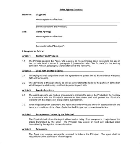 sales agency agreement template 6 sales representative
