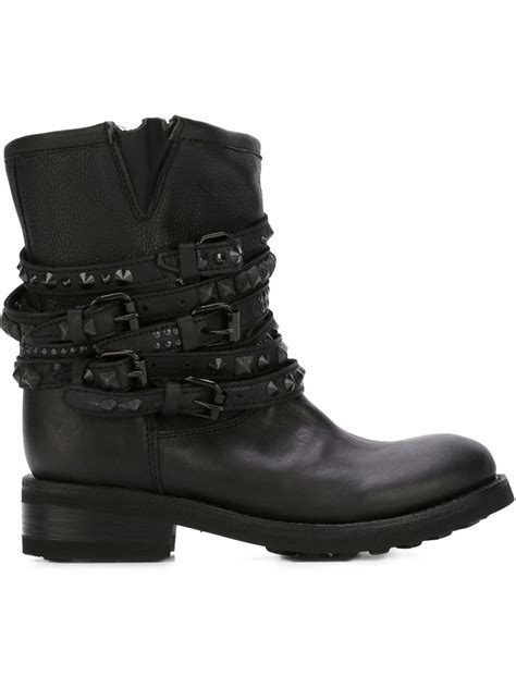 ash studded biker boots in black save 30 lyst