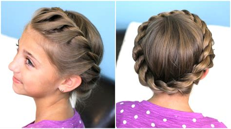 cute hairstyles with braids youtube how to create a crown twist braid updo hairstyles youtube