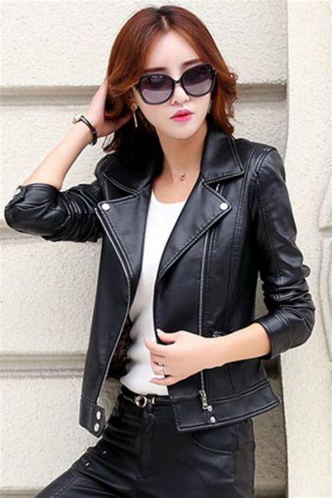 Jaket Kulit Domba Asli Casual Wanita Korea jaket kulit asli wanita korea style biker jacket jyg170919 coat korea