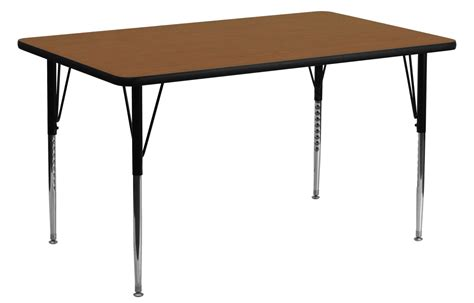 Oak Table L 60 Quot L Rectangular Adjustable Height Oak Activity Table From Renegade Coleman Furniture
