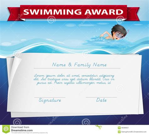 blank certificates swimming award certificate template of certificate for swimming award stock vector