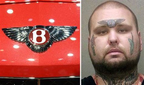 logo tattoo on forehead mugshot released of suspected criminal with bentley logo