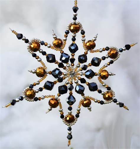 12 point gold and onyx beaded snowflake ornament