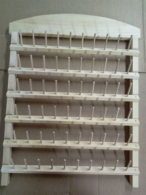 sewing thread rack 60 spool holder unfinished pine wood ebay