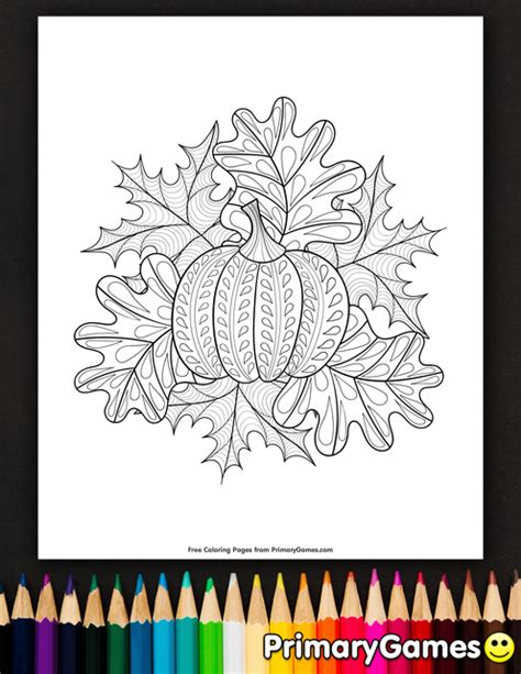 coloring page of pumpkins and leaves pumpkin and fall leaves coloring page printable