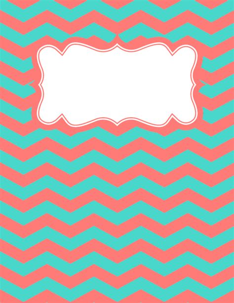printable binder covers free free printable coral and teal chevron binder cover