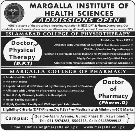 admission forms 2015 unizik diploma pre science post margalla institute of health sciences dpt pharm d