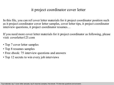scheduling coordinator cover letter it project coordinator cover letter