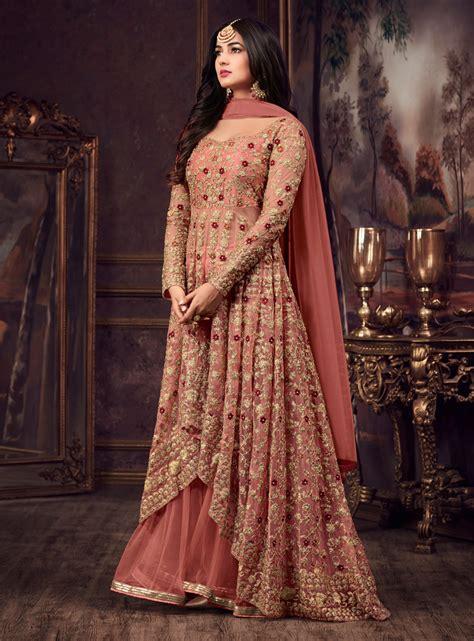 sonal chauhan lehenga buy sonal chauhan peach net wedding lehenga kameez in uk