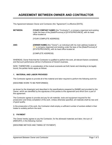 contract templates for construction work templates