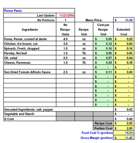 recipe cost card template excel restaurant software recipe costing inventory menu