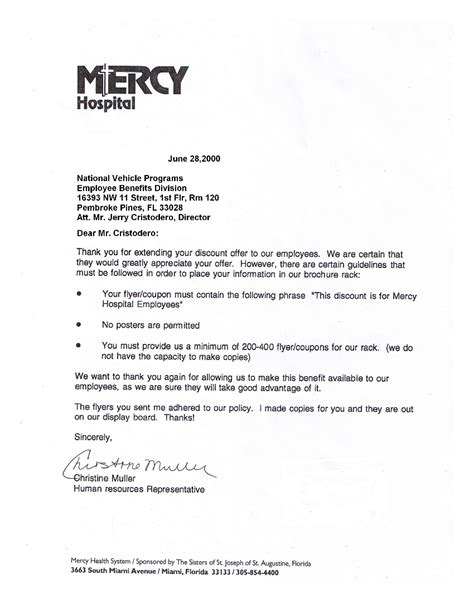 Acceptance Letter Discounts Mercy Hospital National Benefits Programs