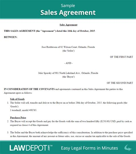 Credit Line Agreement Sle Form Sales Agreement Form Free Sales Contract Us Lawdepot