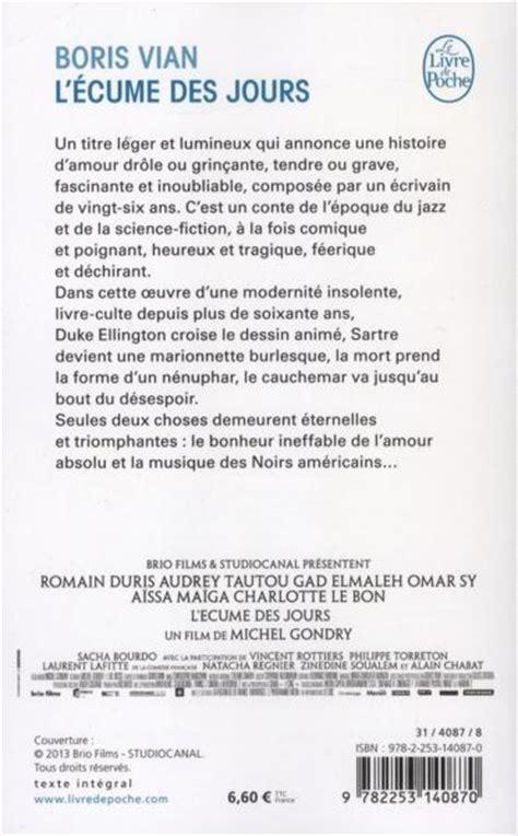 Resume L Ecume Des Jours by Livre L 233 Cume Des Jours Boris Vian