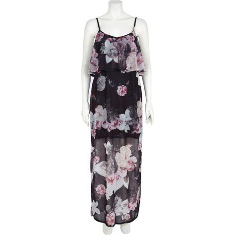 river island black floral print layered chiffon maxi dress