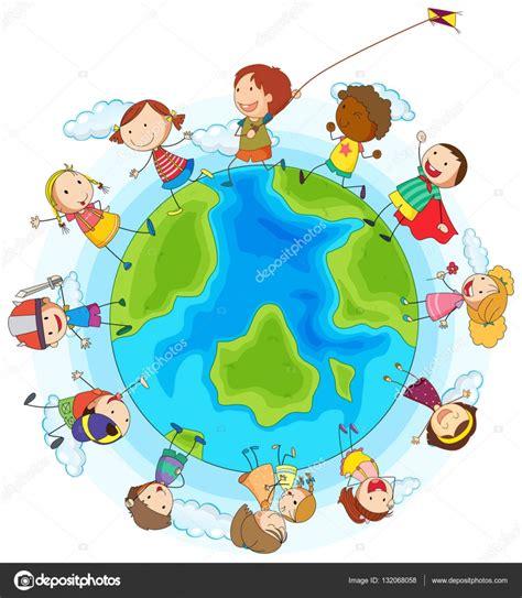 dibujos de niños jugando y compartiendo ni 241 os y ni 241 as jugando todo el mundo vector de stock