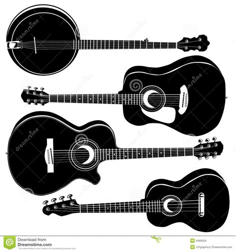 Musical Wall Stickers guitarras ac 250 sticas y banjo imagenes de archivo imagen