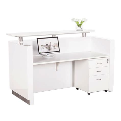 outline white gloss reception desk fast office furniture