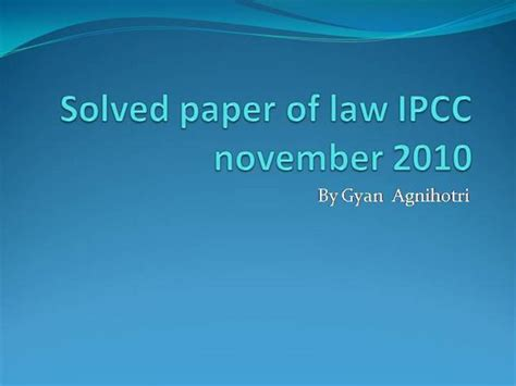 paper pattern law ipcc ipcc nov 2010 law solved paper authorstream