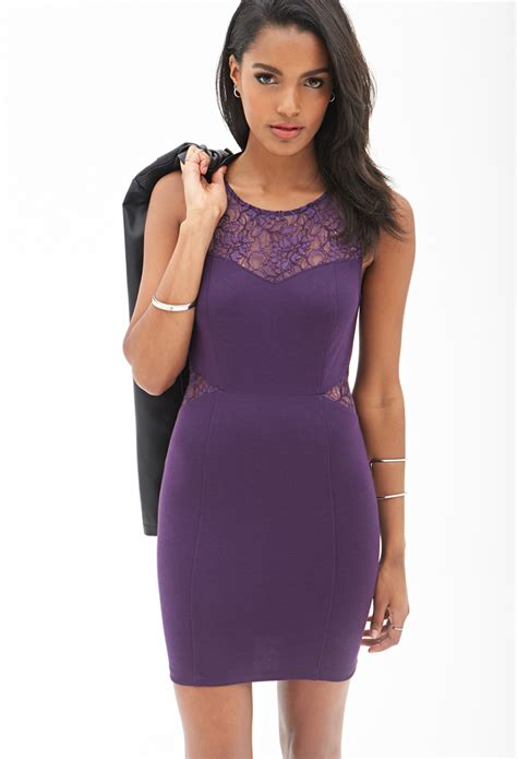 Dress Forever 21 forever 21 dynamite lace bodycon dress in purple lyst