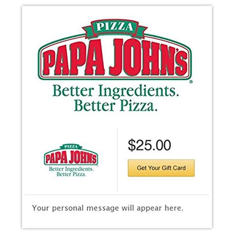 Papa Johns E Gift Card - papa john s pizza gift cards e mail delivery immitate com