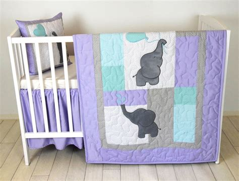 purple elephant crib bedding baby quilt elephant blanket teal purple gray crib
