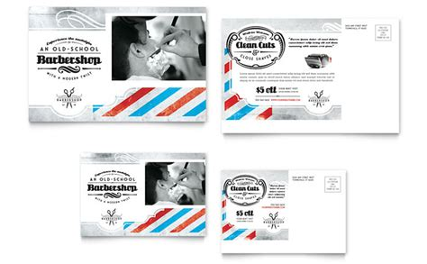 Barbershop Postcard Template Design Barber Shop Gift Certificate Template