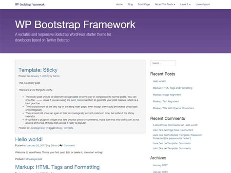 bootstrap themes url wordpress wp bootstrap starter child theme free download