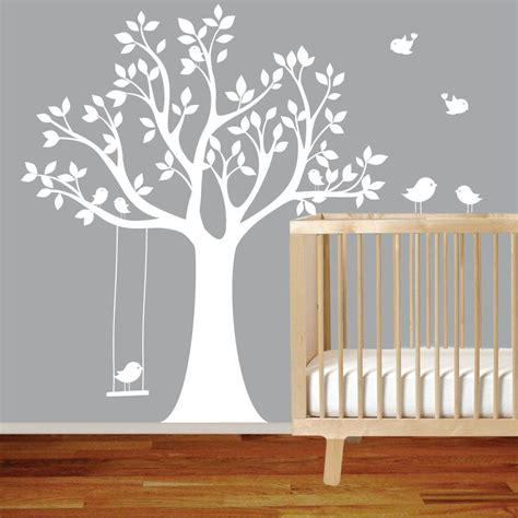 vinyl wall decal stickers bird white tree set nursery wall