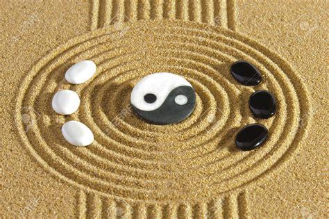 yin yang garten stock photo japanese zen garden with yin and yang stones
