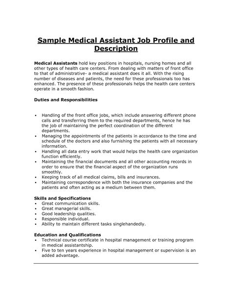 assistant description assistant resume duties