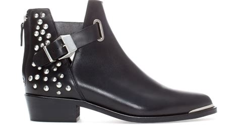 zara studded flat leather ankle boot in black lyst