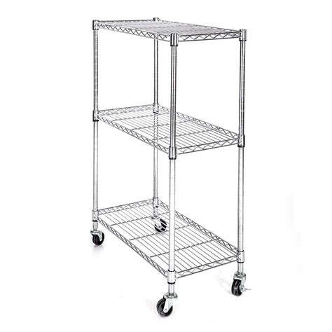 Heavy Duty Chrome 3 Tier Wire Shelving Rack Cart Unit W Heavy Duty Wire Shelving
