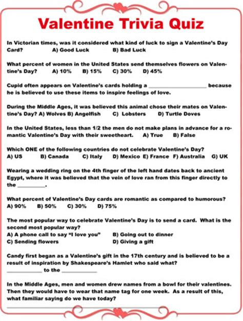valentines question trivia quiz sheet