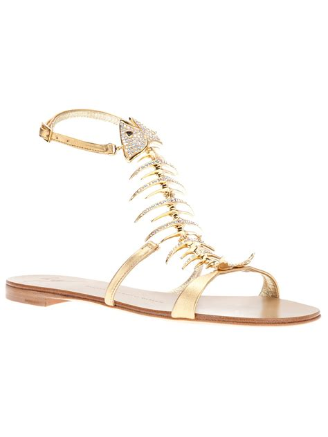 giuseppe zanotti gold sandals giuseppe zanotti fish sandal in gold lyst